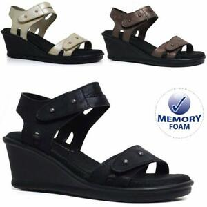 Ladies-Memory-Foam-Mid-Wedge-Sandals-Summer-Beach-Fashion-Strappy-Gladiator-Shoe