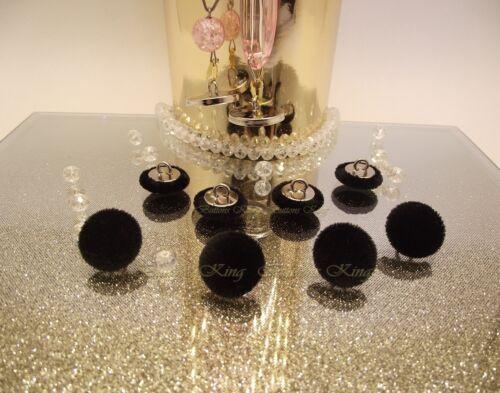 Set 8 en velours boutons recouverts en métal noir argent taille 15 mm.