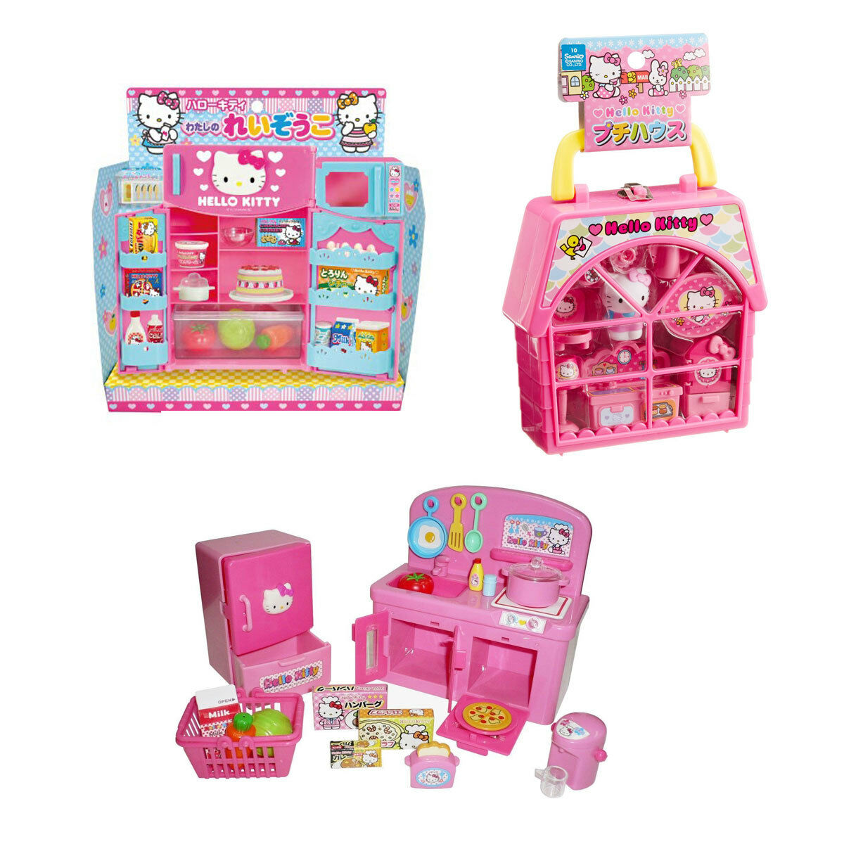3 Unique Hello Kitty Sets – Refrigerator, Kitchen and Petty House Play Sets