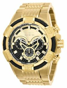Invicta-Bolt-Chronograph-GMT-Time-Zone-52mm-Black-Dial-Gold-Men-039-s-Watch-25543-SD