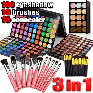 New-10pcs-Makeup-Brush-Set-180-Color-Eyeshadow-Palette-15-Concealer-Kit