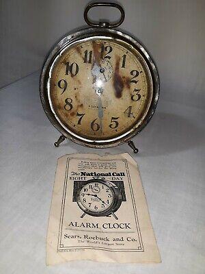 "Vintage clock ""THE NATIONAL CALL"" ALARM CLOCK,paperwork ..."