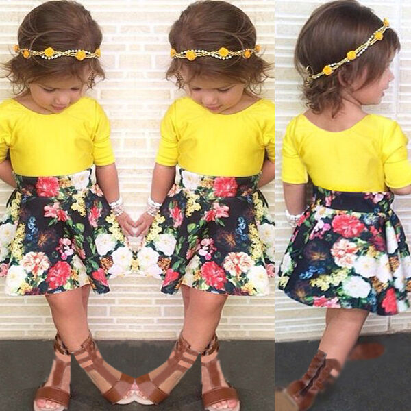 2015 Baby Girls Dress T-shirt+Flower Skirt 2Pcs Outfits Set Clothes Fit 1-5Y