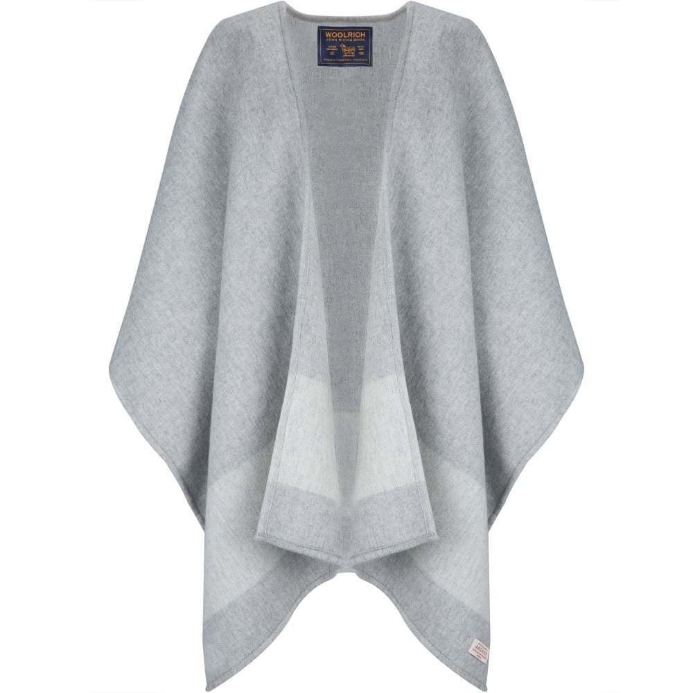 Chal de cabo de un tamaño gris raya mezcla de lana capa Woolrich BNWT RRP 180