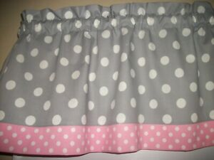 Details About Gray Pink Polka Dot Nursery Bedroom Kitchen Fabric Window  Topper Curtain Valance