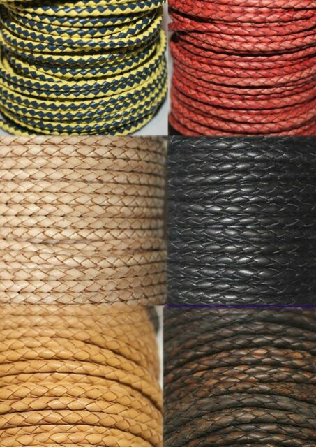 3 mm Genuine Braided Round Bolo Leather Cords 2 Yards to 25 Yards Pack