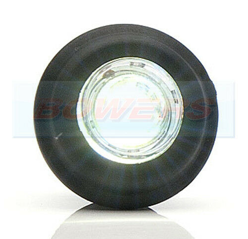 PUSH IN FIT 12V 24V FRONT WHITE CLEAR SMALL ROUND LED BUTTON MARKER LAMP LIGHT