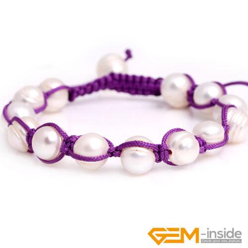 Handmade 9-10 mm d/'eau douce Perle Corde Bracelet pour Femmes Cadeaux réglable YB