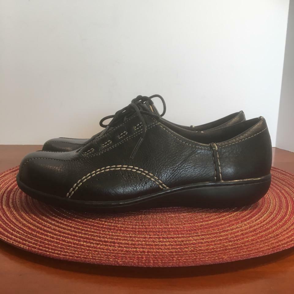 Clarks Viola donna nero Leather Oxford 8W 84704 Bre nuovo