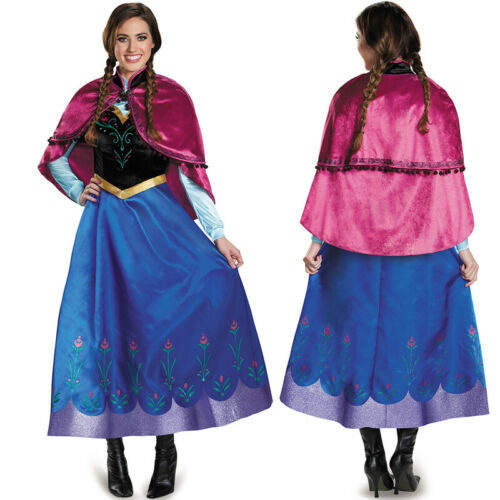 NEW Halloween Outfit Adult Princess Anna Cosplay Costume Fancy Stage Dress