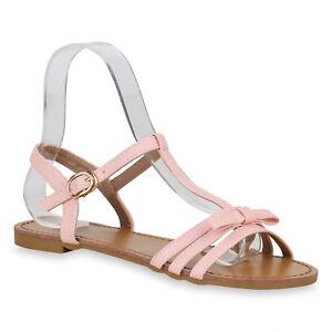 Damen Riemchensandalen T-Strap Sandalen Sommer Schuhe Schleifen 823122 Trendy