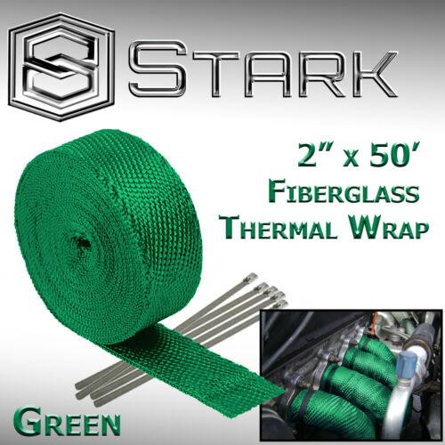 "Green 2/"" x 50FT Exhaust Header Fiberglass Heat Wrap Tape w// 5 Steel Ties W"