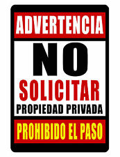 No Soliciting Spanish Sign Durable Aluminum No Rust Full Color Custom Sign 434