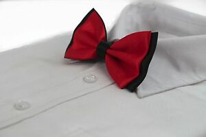MENS-RED-ORANGE-BLACK-TWO-TONE-BOW-TIE-Pre-Tied-Formal-Wedding-Fancy-Accessory