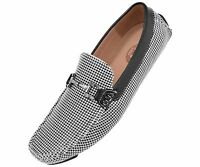 Amali Mens Black/White Houndstooth Printed Driving Moccasin Shoes Style 1404-473