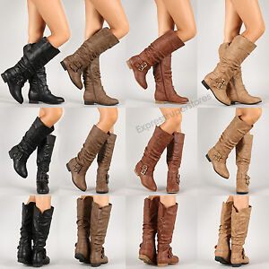 Womens-New-Riding-Boots-Knee-High-Fashion-Faux-Leather-Boot-Stylish-Shoes-Size