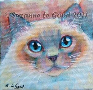 Birman Ragdoll Cat art painting canvas original watercolour by Suzanne Le Good