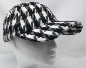 Soft Fuzzy Wool Blend Houndstooth Black White Strapback Baseball Cap Hat NEW