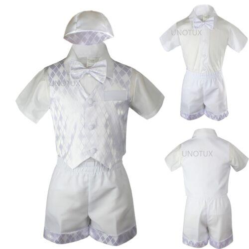 Baby Boy Toddler Baptism Church Formal Paisley Vest Shorts Suit White Hat