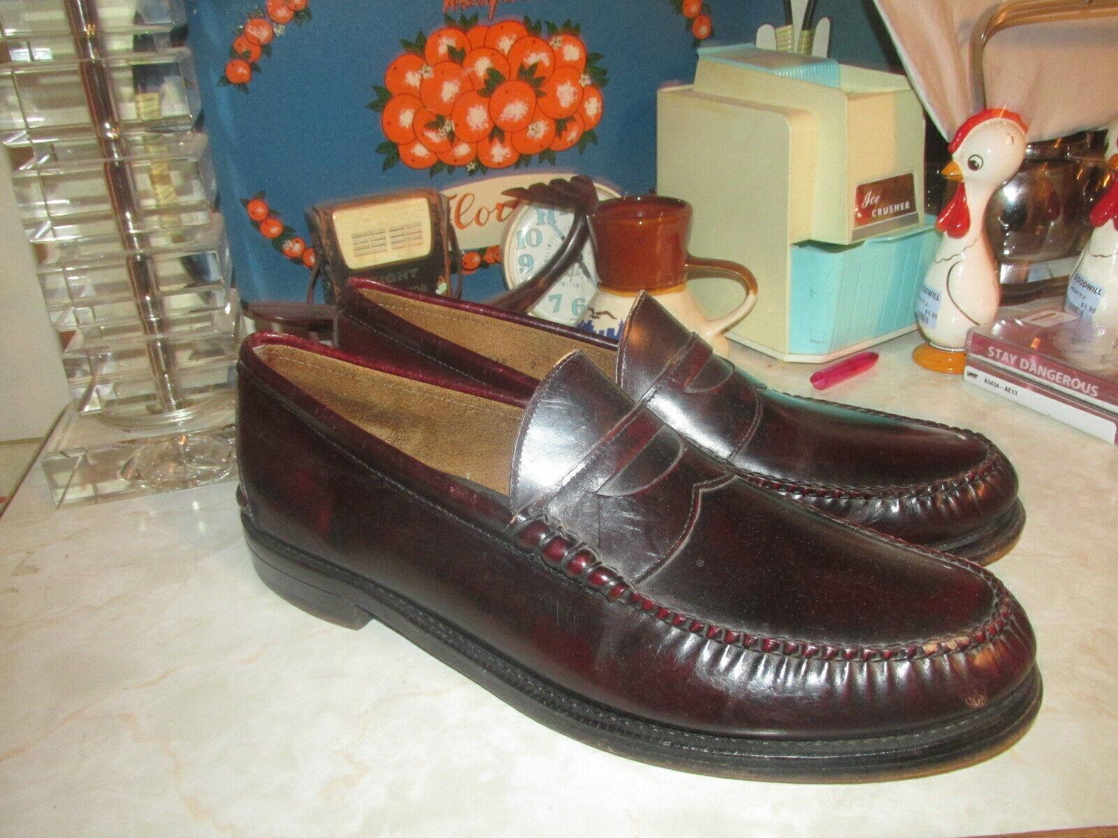 JOHNSTON & MURPHY Aristocraft Mens 13 D/B Burgundy Penny Loafers Shoes Vintage