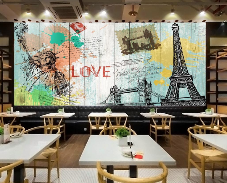 3D Painted Eiffel Tower 1113 Paper Wall Print Wall Decal Wall Deco Indoor Murals