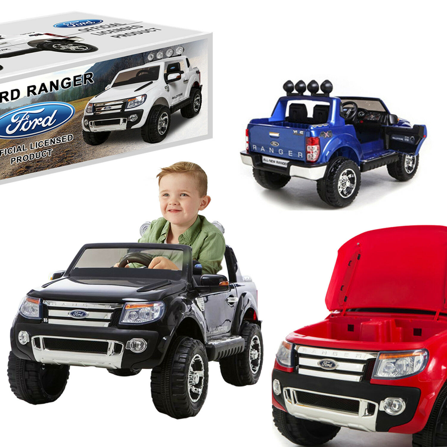 Ride on Ford Ranger bambini Auto Jeep 4x4 Truck Parental Remote Control 12v Battery