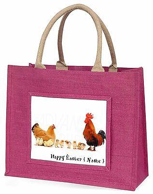 personalisiert Junggesellinnenabschied, Hahn+Küken große rosa Einkaufstasche