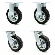 6 Inch Black Pneumatic Wheel Caster Set 2 Swivel 2 Rigid Service Caster Brand