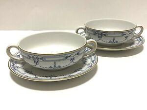 Community-China-Grosvenor-Design-Bavaria-Flat-Cream-Soup-Bowl-amp-Saucer-Set-of-2