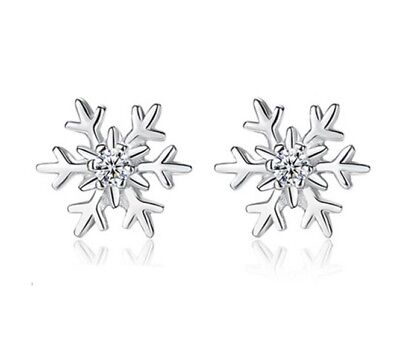 925 Sterling Silver Crystal Ice Frosty Flower Snowflake Earrings Gift Box K44
