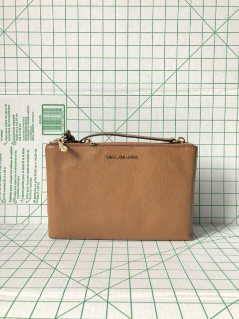 3c322f6a3e4f Michael Kors Jet Set Travel DBL Gusset Leather Brown Signature PVC Crossbody  Bag