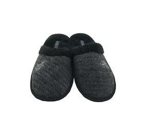 U.S. Polo Assn. Men's Premium Moccasin Slide Slippers Gray Black 11-12