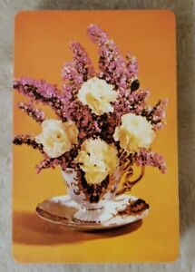 Vintage-Playing-Cards-Orange-with-Flowers-in-Vase-Full-Deck