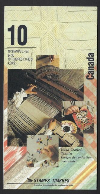 Canada BK159b: 43c Hand Crafted Textiles booklet of 10, open TI, Scott 1465b, NH