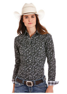 Panhandle-Slim-Women-039-s-Black-amp-White-Paisley-Print-Snap-Up-Western-Shirt-R4S5028