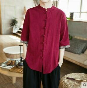 Mens-casual-short-sleeve-summer-shirts-cotton-and-linen-loose-fit-Chinese-new