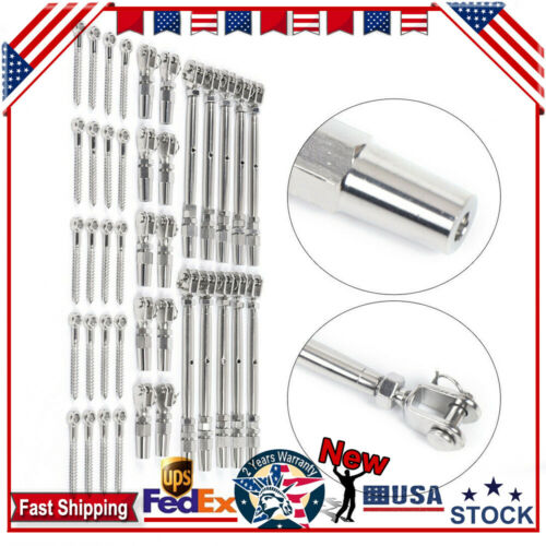 """316 Stainless Steel Tensioner Quick Installation for 1//8/"""" Cable Railing~10 Sets"""