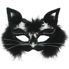 TRANSPARENT CAT EYE MASK BLACK FUR HALLOWEEN FANCY DRESS WOMEN'S ACCESSORY
