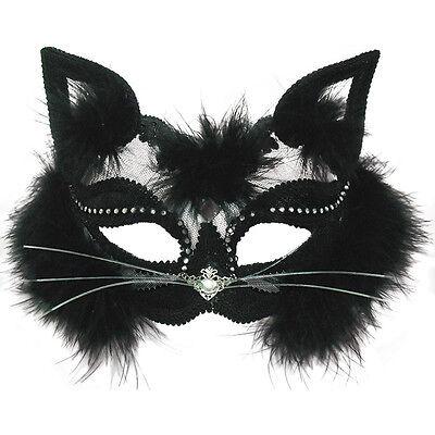 Durchsichtig Katze Augen Maske Schwarz Pelz Halloween Kostüm Damen Zubehör StäRkung Von Sehnen Und Knochen