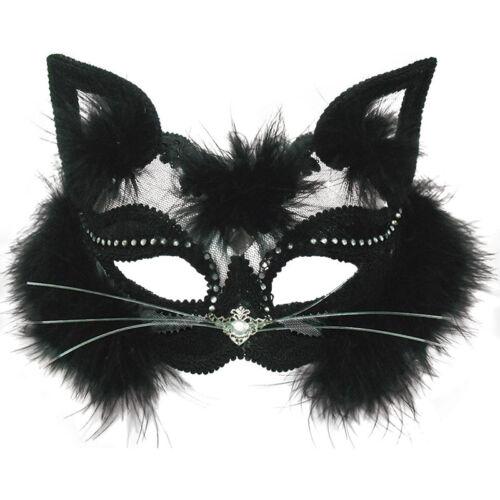 Maschera Trasparente Occhio Di Gatto Nero Pelliccia Halloween Fancy Dress accessorio femminile