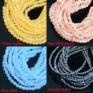 Natural Gemstone Round Facted Spacer Loose Beads 2mm,3mm