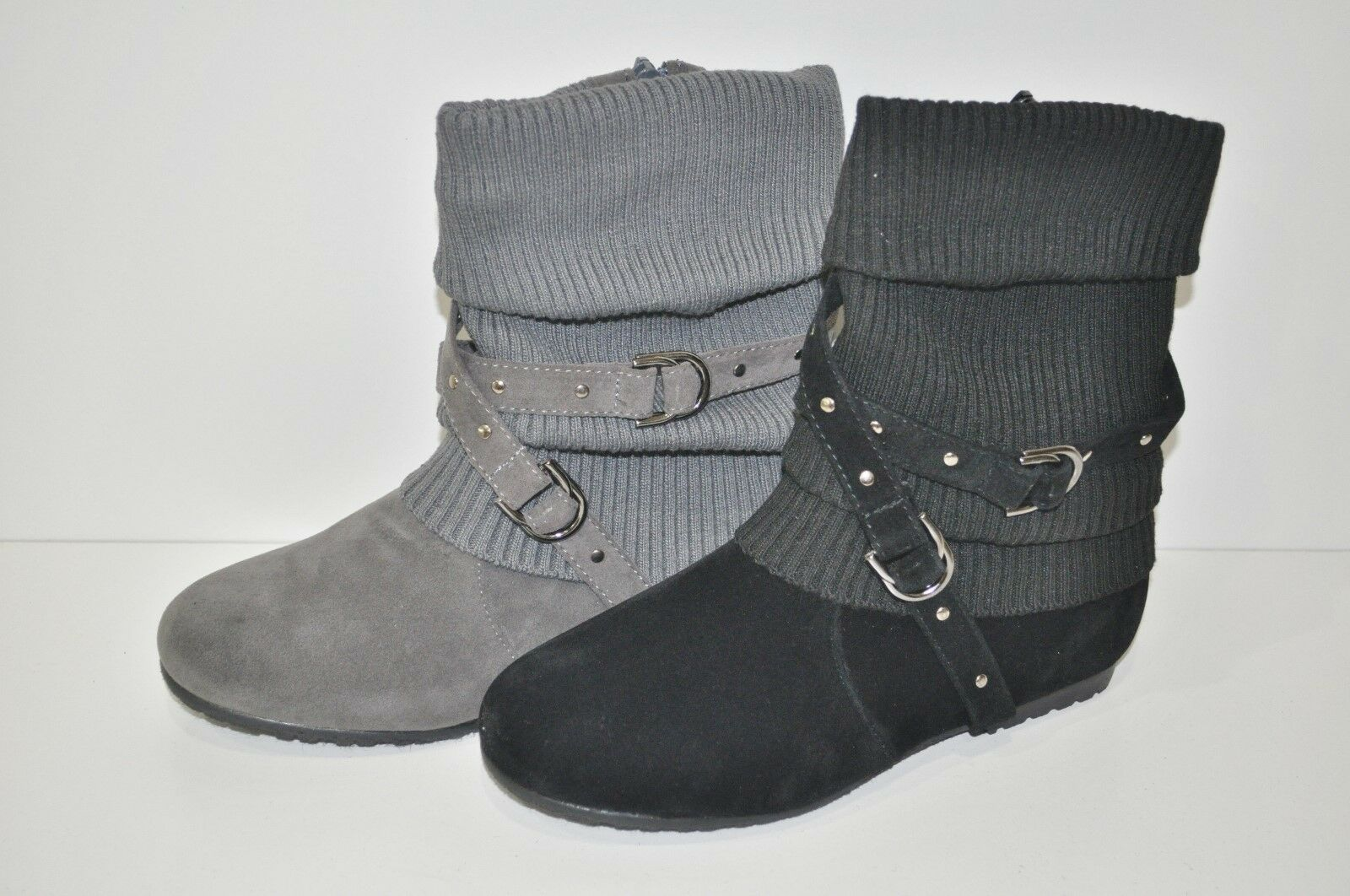 NEW ANNA LIZZY FLAT FASHION SLOUCHY BOOT SWEATER KNIT TOP STRAPS ZIPPER BK TN GY