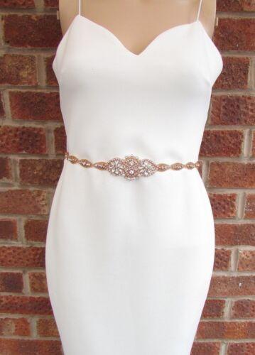 Rose Gold Silver Diamante Ivory Pearl Wedding Dress Belt Crystal Sash 6089