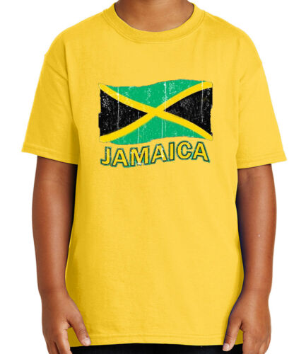 1057C Jamaica Flag Kid/'s T-shirt Distress Jamaican Cool Tee for Youth