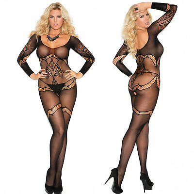 PLUS SIZE LINGERIE One Size Queen Black Crochet L/S Bodystocking  EM1289Q