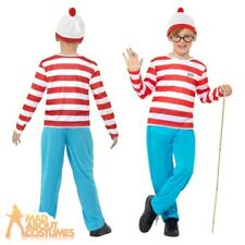 Kids Adults Where/'s Wally Costume Book Week Fancy Dress 80s Cartoon Party Outfit
