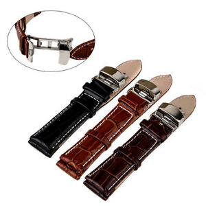 Watch-Band-Buckle-18-22mm-Genuine-Leather-Stainless-Steel-Butterfly-Clasp-Strap