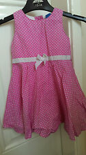 Adams Kids 9-12 months summer dress pink with white spots and bow