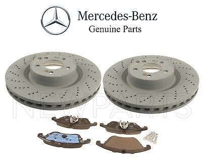 For Mercedes W212 E550 Front /& Rear Disc Brake Pads w// Brake Sensors Genuine