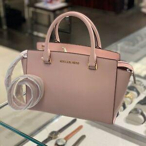 Details about Michael Kors Women Leather Medium Satchel crossbody Bag Handbag Purse Pink Gold